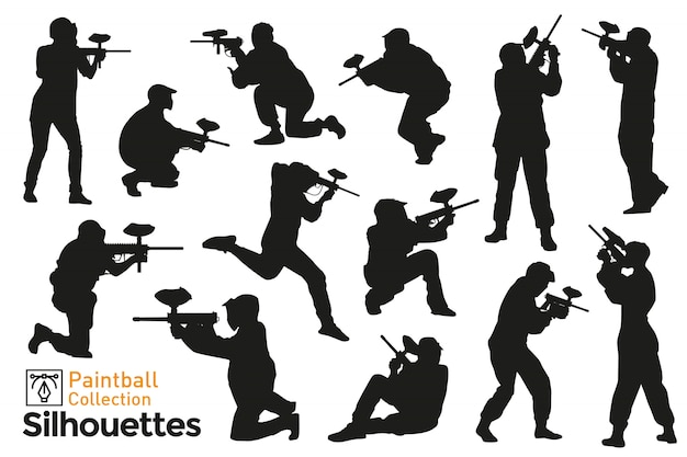 Collezione di sagome di giocatori di paintball. diverse pose di persone che giocano con le armi.