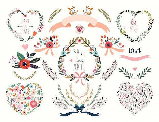 Collezione di san valentino con diversi cuori e composizioni floreali