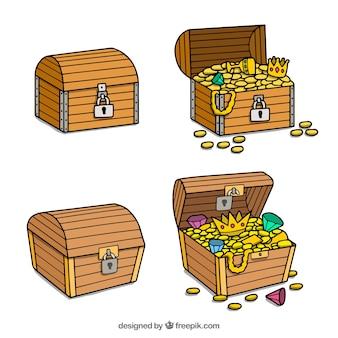 Collezione di scatola del tesoro disegnata a mano