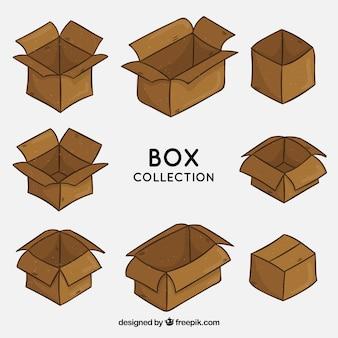 Collezione di scatole di cartone