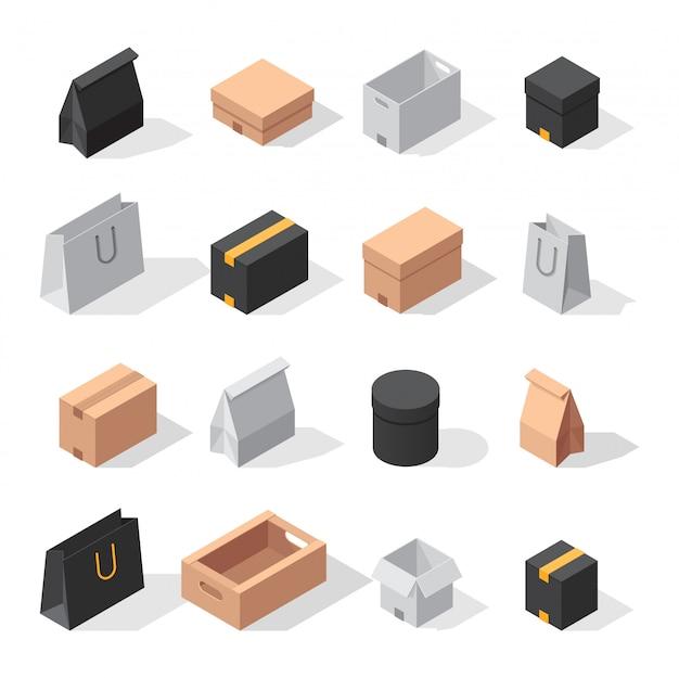 Collezione di scatole di consegna isometrica