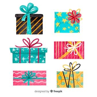 Collezione di scatole regalo di natale dell'acquerello