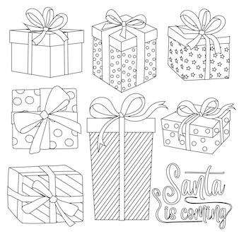 Collezione di scatole regalo di natale per la colorazione