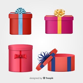Collezione di scatole regalo di natale realistico