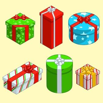 Collezione di scatole regalo di Natale.