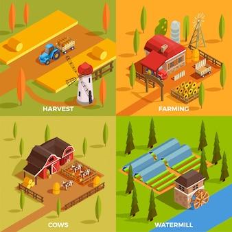Collezione di scene di fattoria isometrica