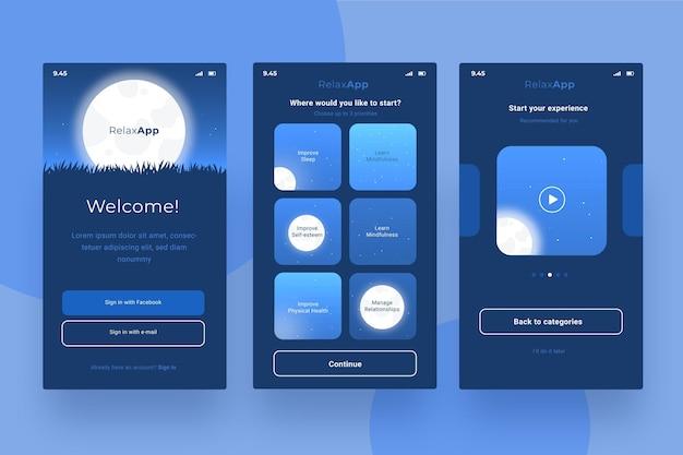 Collezione di schermate delle app di meditazione