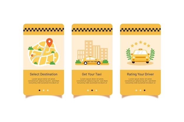 Collezione di schermate di app per l'onboarding del servizio taxi