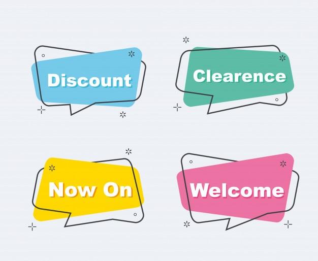 Collezione di sconto vendita in stile origami banner