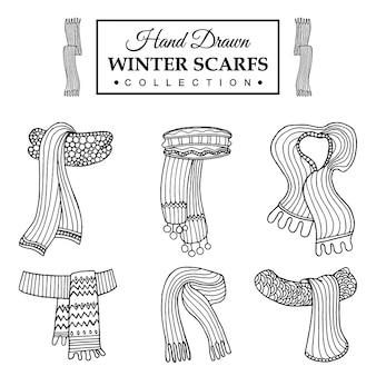 Collezione di scrafs invernali disegnati a mano