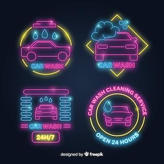 Collezione di segni di autolavaggio al neon