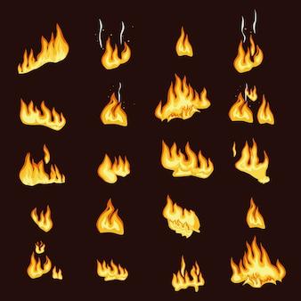 Collezione di segni di fiamma di fuoco