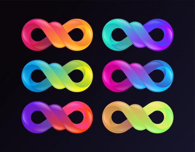 Collezione di segni di infinito gradiente