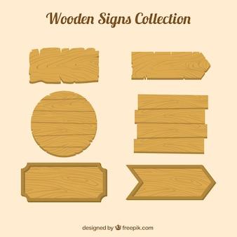 Collezione di segno di legno in design piatto