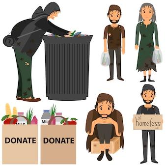 Collezione di senzatetto senzatetto in strada senzatetto nella spazzatura.