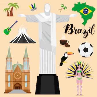 Collezione di set da viaggio brasile turistico