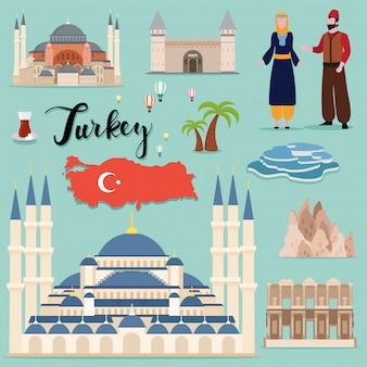 Collezione di set da viaggio turchia turistica