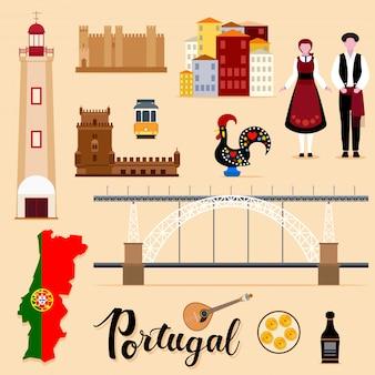 Collezione di set da viaggio turistico portogallo