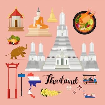 Collezione di set da viaggio turistico thailandia