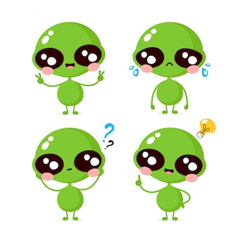 Collezione di set di caratteri alieni triste e sorridente felice carino. concetto di personaggio alieno