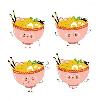Collezione di set di caratteri carino felice ramen bowl. isolato su bianco progettazione dell'illustrazione del personaggio dei cartoni animati di vettore, stile piano semplice. ramen cammina, salta, pensa, medita il concetto