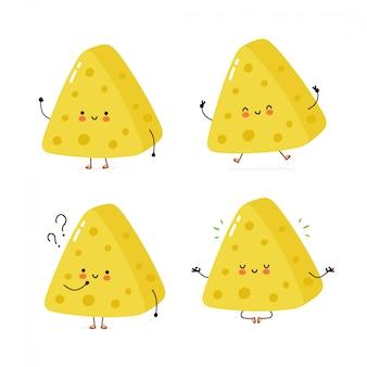 Collezione di set di caratteri carino formaggio felice. isolato su bianco progettazione dell'illustrazione del personaggio dei cartoni animati di vettore, stile piano semplice. la borsa del formaggio cammina, si allena, pensa, medita il concetto