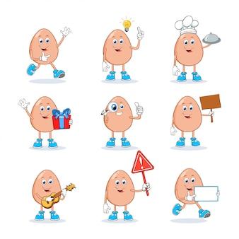 Collezione di set di caratteri della mascotte dei cartoni animati di uovo
