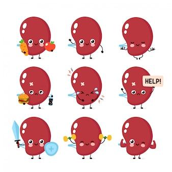Collezione di set di caratteri di organo milza triste sano sano felice e malato.