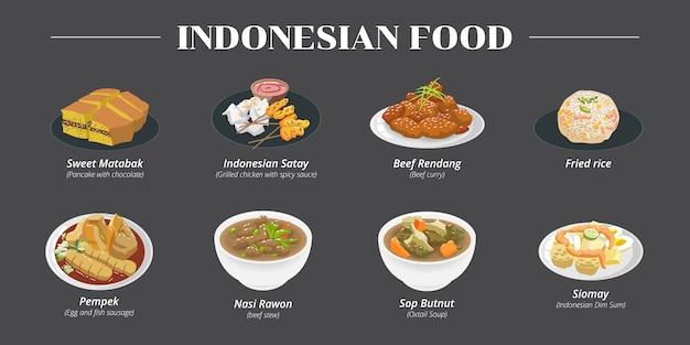 Collezione di set di cibo indonesiano