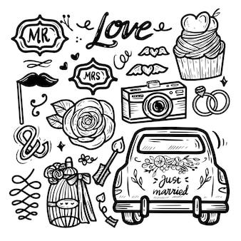 Collezione di set di disegni di doodle di amore e matrimonio kawaii carino icona