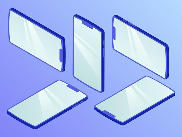 Collezione di set di smartphone con varie viste stile isometrico