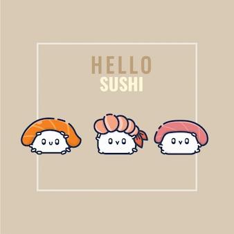 Collezione di set di sushi felice carino