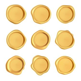 Collezione di sigilli di cera. insieme della guarnizione della cera del bollo dell'oro isolato su fondo bianco. realistici francobolli d'oro garantiti.