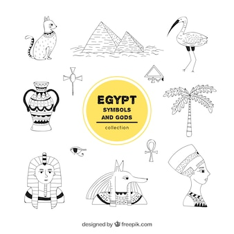 Collezione di simboli e divinità egizia disegnata a mano