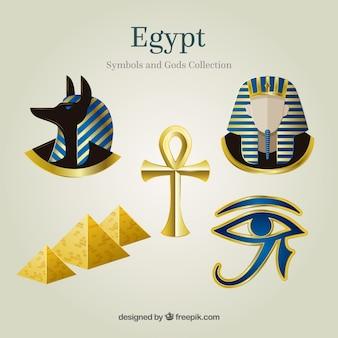 Collezione di simboli e divinità egiziane