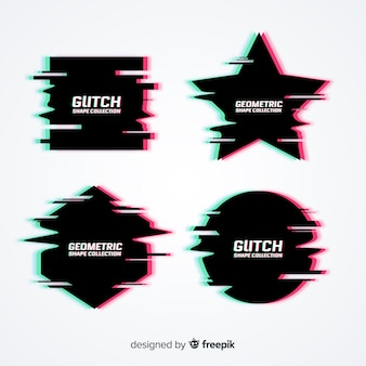 Collezione di simboli effetto glitch