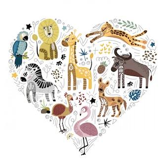 Collezione di simpatici animali africani