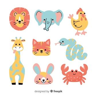 Collezione di simpatici animali colorati
