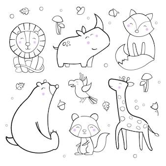 Collezione di simpatici animali contorno vettoriale
