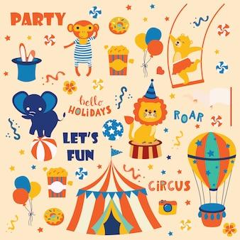 Collezione di simpatici animali da circo.