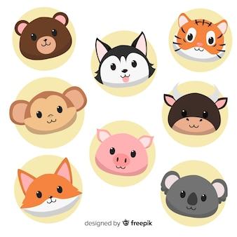 Collezione di simpatici animali disegnati a mano design piatto