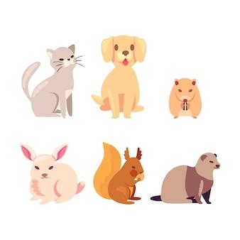 Collezione di simpatici animali domestici diversi