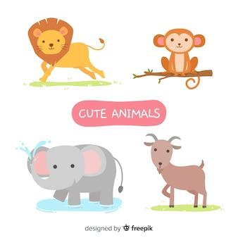 Collezione di simpatici animali illustrati