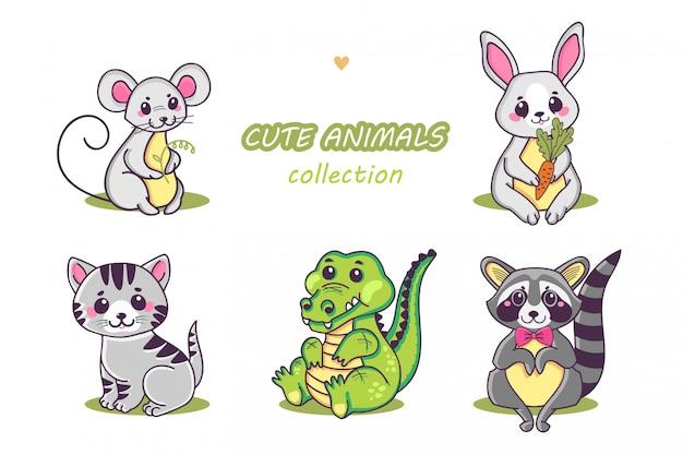 Collezione di simpatici animali.