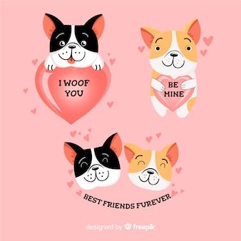 Collezione di simpatici cani innamorati