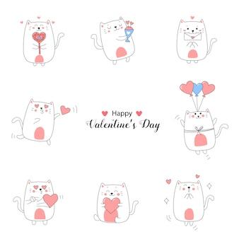 Collezione di simpatici cartoni animati di gatto per san valentino con colori dolci.