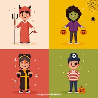 Collezione di simpatici costumi per bambini halloween su design piatto