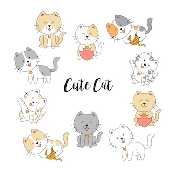 Collezione di simpatici gatti disegnati a mano