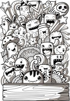 Collezione di simpatici mostri in stile doodle