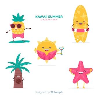 Collezione di simpatici personaggi kawaii d'estate